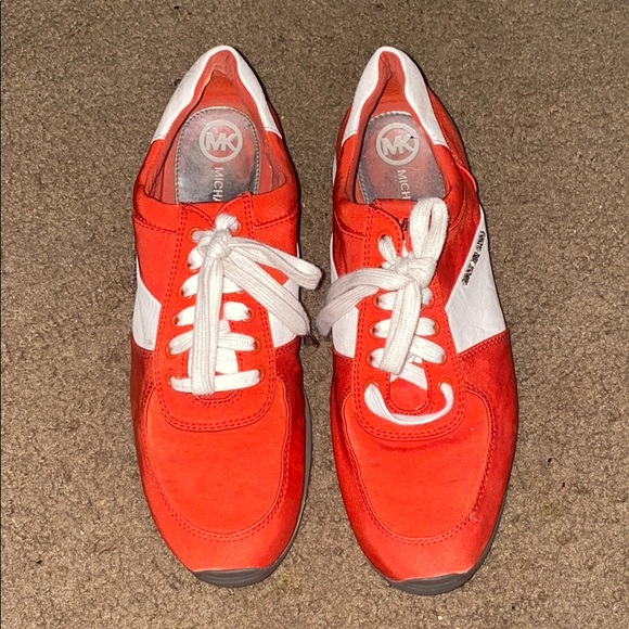 Michael Kors Shoes - Allie Nylon Red and White Sneakers 98